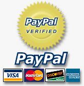 Paypal Visa, MasterCard, Discover and American Express.